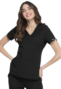 Simply Polished Faux Twist V-Neck Top (EL695-BLK) (EL695-BLK)