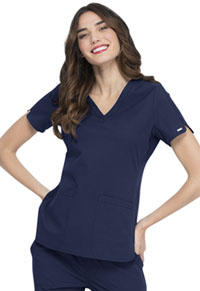 Elle Faux Twist V-Neck Top Navy (EL695-NAV)