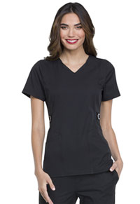 Simply Polished V-Neck Top (EL720-BLK) (EL720-BLK)