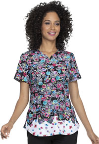 Prints a La Mode Shaped V-Neck Top (EL830-DRVD) (EL830-DRVD)