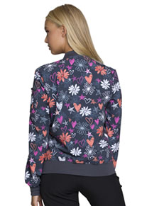 HeartSoul HeartSoul Prints Zip Front Bomber Jacket in Love U For Daisies (HS311-LVUD)