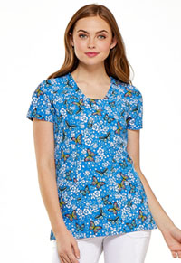 HeartSoul HeartSoul Prints V-Neck Top in Blooming Butterfly (HS610-BMBY)