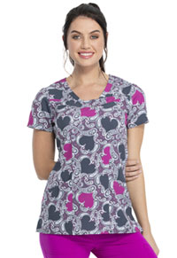 HeartSoul Prints V-Neck Top (HS610-LVPY) (HS610-LVPY)