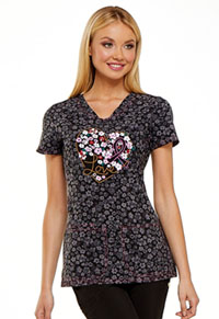 HeartSoul Prints V-Neck Top (HS614-FLVR) (HS614-FLVR)