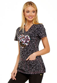 HeartSoul HeartSoul Prints V-Neck Top in Floral Ever In My Heart (HS614-FLVR)