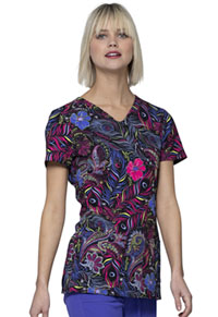 HeartSoul HeartSoul Prints V-Neck Top in Gypsy Queen (HS614-GYQU)