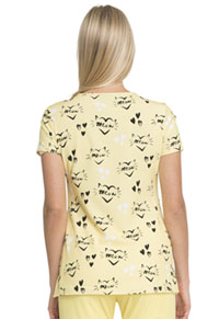 HeartSoul HeartSoul Prints V-Neck Top in Meow Or Never (HS614-MEON)