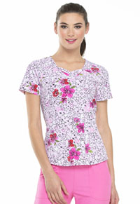 HeartSoul Prints Sweetheart Neck Top (HS616-RESS) (HS616-RESS)