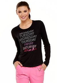 HeartSoul Friyay Long Sleeve Underscrub Knit Tee Black (HS625-BLK)