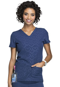 HeartSoul Beat of My Heart V-Neck Top Beat Of My Heart Navy (HS627-BTNY)