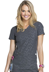HeartSoul Beat of My Heart V-Neck Top Beat Of My Heart Pewter (HS627-BTPW)