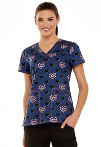 HeartSoul Prints V-Neck Top (HS629-LVBU) (HS629-LVBU)