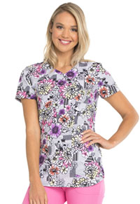 HeartSoul HeartSoul Prints Mock Wrap Top in Patterns And Posies (HS634-PATS)
