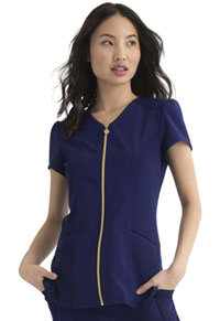 Heartsoul Zip Front V-Neck Top Navy (HS644-NYPS)