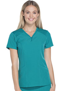 HeartSoul Heart Zips A Beat V-Neck Top Teal Blue (HS650-TEAH)