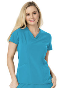 Heart Zips A Beat V-Neck Top (HS650-TURH)