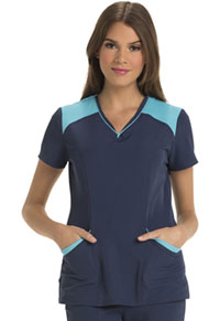 HeartSoul Heart Zips A Beat V-Neck Top Navy (HS652-NAYH)