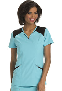 HeartSoul Heart Zips A Beat V-Neck Top Turquoise (HS652-TURH)
