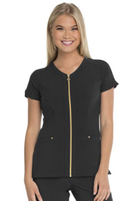 HeartSoul Zip Front V-Neck Top Black (HS655-BAPS)