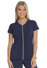 HeartSoul Amorous Zip Front V-Neck Top Navy (HS655-NYPS)