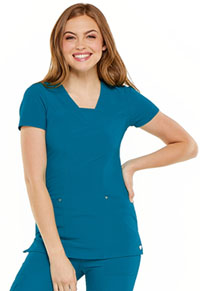 HeartSoul Serenity V-Neck Top Caribbean Blue (HS665-CAPS)