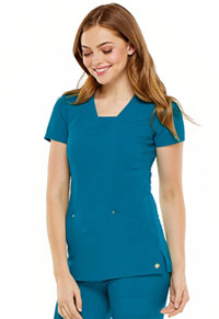 "HeartSoul Love Always ""Serenity"" V-Neck Top in Caribbean Blue (HS665-CAPS)"