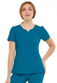 HeartSoul Lovely V-Neck Top Caribbean Blue (HS670-CAPS)