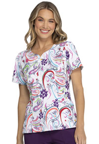 Heartsoul Shaped V-Neck Top Scrolling Along With You (HS671-SGWY)