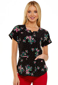 HeartSoul HeartSoul Prints Round Neck Top in Rose Garden (HS685-ROSG)