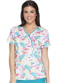 Runway Mock Wrap Top Flamingo Fantasy (RW601-FFFT)