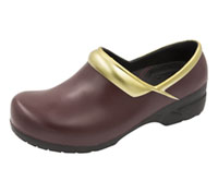 Anywear Closed Back Plastic Clog Burgundy,Gold,Black (SRANGEL-BGBK)