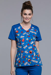 Tooniforms V-Neck Top with Welt Pockets Elmo Is Awesome (TF624-SWAW)