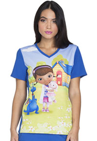 Tooniforms V-Neck Knit Panel Top McStuffins Sunshine (TF627-DCSS)