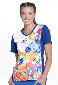 Tooniforms V-Neck Top Fluent In Whale (TF627-FNWH)