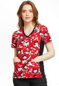 Tooniforms V-Neck Knit Panel Top Heritage Mickey (TF636-MKHG)