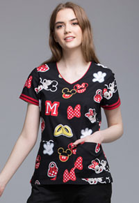 Tooniforms V-Neck Top Minnie Patches (TF644-MKPT)