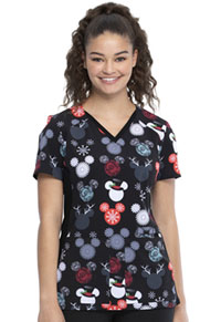 Tooniforms V-Neck Knit Panel Top That's Snow Mickey (TF655-MKTS)