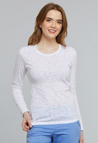Tooniforms Long Sleeve Underscrub Knit Tee Mickey Hands White (TF662-MKDW)
