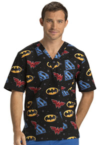 Tooniforms Unisex V-Neck Top Justice League Trio (TF701-DMAW)