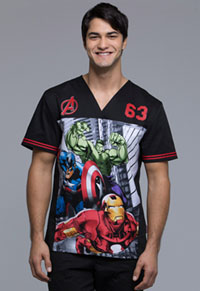Tooniforms Men's V-Neck Top Heroes Forever (TF702-MAFI)