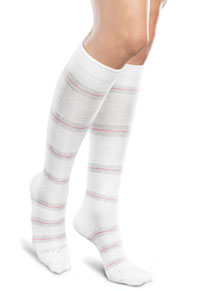 Therafirm 10-15Hg Light Support Sock White/Grey/Pink Stripe (TFCS116-WGPS)