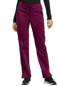 Cherokee Workwear Mid Rise Straight Leg Drawstring Pant Wine (WW005-WIN)