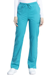Cherokee Workwear Mid Rise Straight Leg Drawstring Pant Teal Blue (WW041AB-TLB)