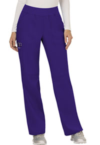 Cherokee Workwear Mid Rise Straight Leg Pull-on Pant Grape (WW110-GRP)