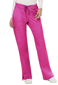 Cherokee Workwear Mid Rise Moderate Flare Drawstring Pant Electric Pink (WW120-EEPI)
