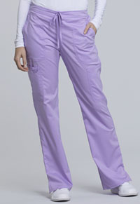 Cherokee Workwear Mid Rise Moderate Flare Drawstring Pant Oh So Orchid (WW120-OSOR)
