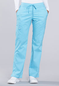 Cherokee Workwear Mid Rise Moderate Flare Drawstring Pant Turquoise (WW120-TRQ)
