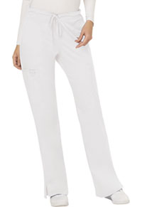 Cherokee Workwear Mid Rise Moderate Flare Drawstring Pant White (WW120-WHT)