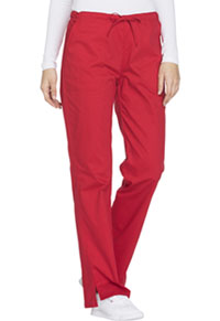 Cherokee Workwear Mid Rise Straight Leg Drawstring Pant Red (WW130-REDW)