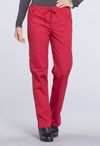 Mid Rise Straight Leg Drawstring Pant (WW160T-RED)